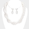 Elegant Embellished White Pearl Bridal Necklace Set