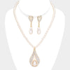 Pave Cream Pearl Teardrop Necklace Bridal Set | Wedding Jewelry on Gold | 465192
