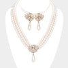 Clear Rhinestone and Cream Drop Pearl Wedding Necklace Set | Bridal Set