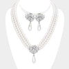 Clear Rhinestone and White Drop Pearl Wedding Necklace Set | Bridal Set