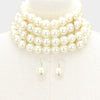 Multi Strand Cream Pearl Choker Necklace on Gold | Bridal Necklace