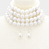 Multi Strand White Pearl Choker Necklace | Bridal Necklace