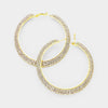 Double Row Crystal Rhinestone Hoops on Gold