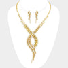 Gold Three Piece Swirl Rhinestone Jewelry Set