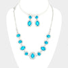 Pave Trim Aqua Rhinestone Necklace and Earrings