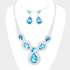 Aqua Crystal Rhinestone Pave Crystal Teardrop Bib Necklace