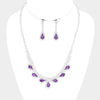Purple and Rhinestone Teardrop Prom Necklace and Earrings