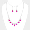 Fuchsia and Rhinestone Teardrop Prom Necklace and Earrings