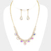 AB and Rhinestone Teardrop Prom Necklace and Earrings