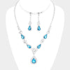 Aqua Teardrop Crystal Rhinestone Prom Necklace Set  | Prom Jewelry