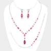 3 Piece Pink Crystal Drop Necklace Set  | Pageant| Prom