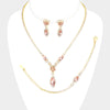 3 Piece Peach Crystal Marquise Rhinestone Prom Necklace Set on Gold