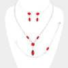 3 Piece Red Crystal Marquise Rhinestone Prom Necklace Set