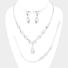 Clear Marquise Crystal Rhinestone  3 Piece Prom Jewelry Set