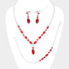 Red Marrquise Crystal Rhinestone  3 Piece Prom Jewelry Set
