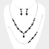 3 Piece Black Crystal Rhinestone Prom Jewelry Set