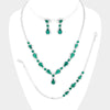 3 Piece Emerald Crystal Rhinestone Prom Jewelry Set