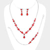 3 Piece Red Crystal Rhinestone Prom Jewelry Set  | 478263