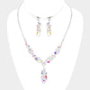 Elegant AB Crystal Floral Rhinestone Prom Necklace Set