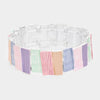 Multi-Color Textured Rectangle Metal Stretch Fun Fashion Bracelet | 431871