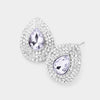 Elegant Lavender Crystal Rhinestone Pear Shaped Stud Earrings | 476859