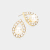 Cream Centered Pearl with Rhinestones Earrings on Gold | Bridal Earrings | Wedding Earrings | 415216