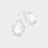 White Centered Pearl with Rhinestones Earrings | Bridal Earrings | Wedding Earrings