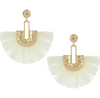 Gold Post Ivory Fabric Fun Fashion Tassel Earrings