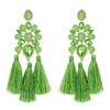 Boho Chic Lime Opal Tassel Fun Fashion Earrings