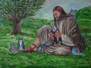 Jesus with cats
