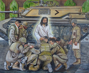 Jesus praying with soldiers