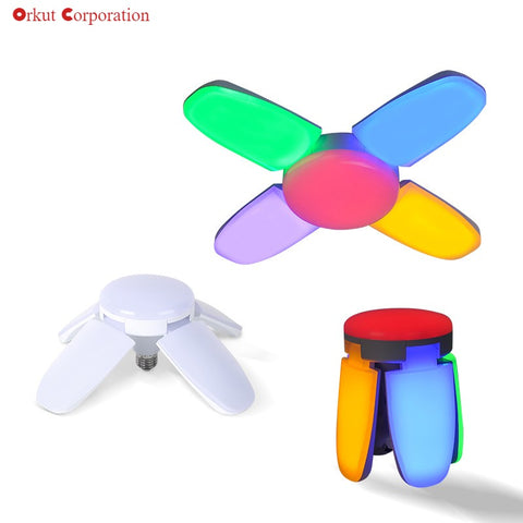 Adjustable 60W Fan Blade Led Light Colorful 4 Leaf Ceiling Fan Light Garage Workshop Light
