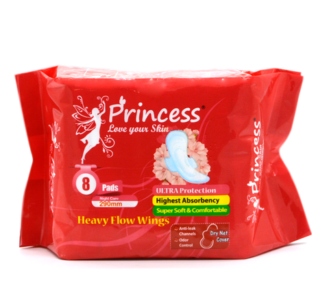 PRINCESS HEAVY FLOW WINGS 8 PADS PACK
