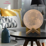 Moon Lamp Light Rechargeable 3D Printing 8cm with Stand Touch Switch Table Lamp