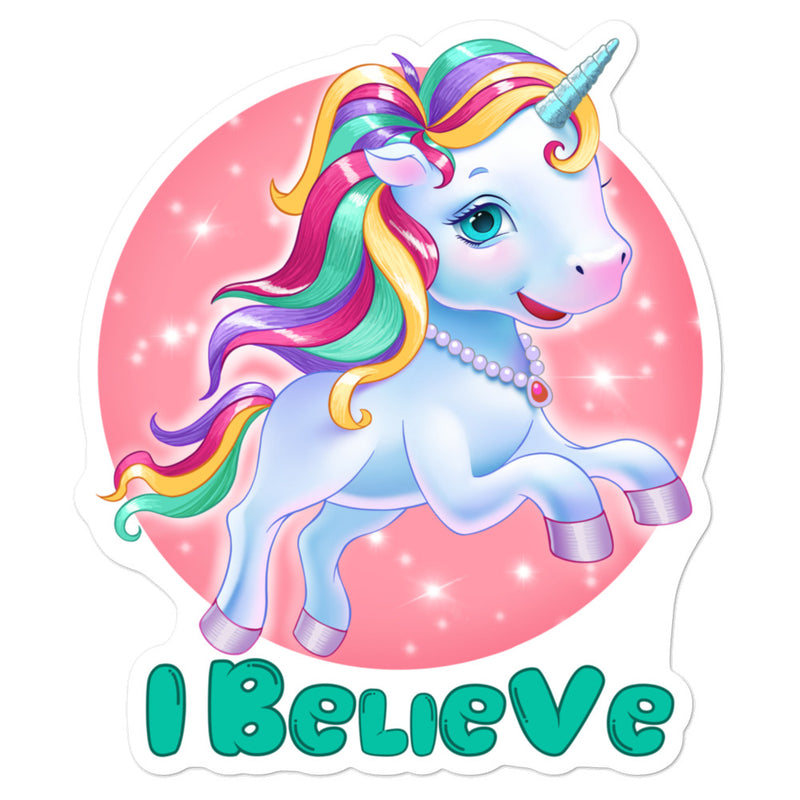 Unicorns I Believe - 3x3 and 5.5x5.5inch Bubble-Free Sticker - StarSeed Gear
