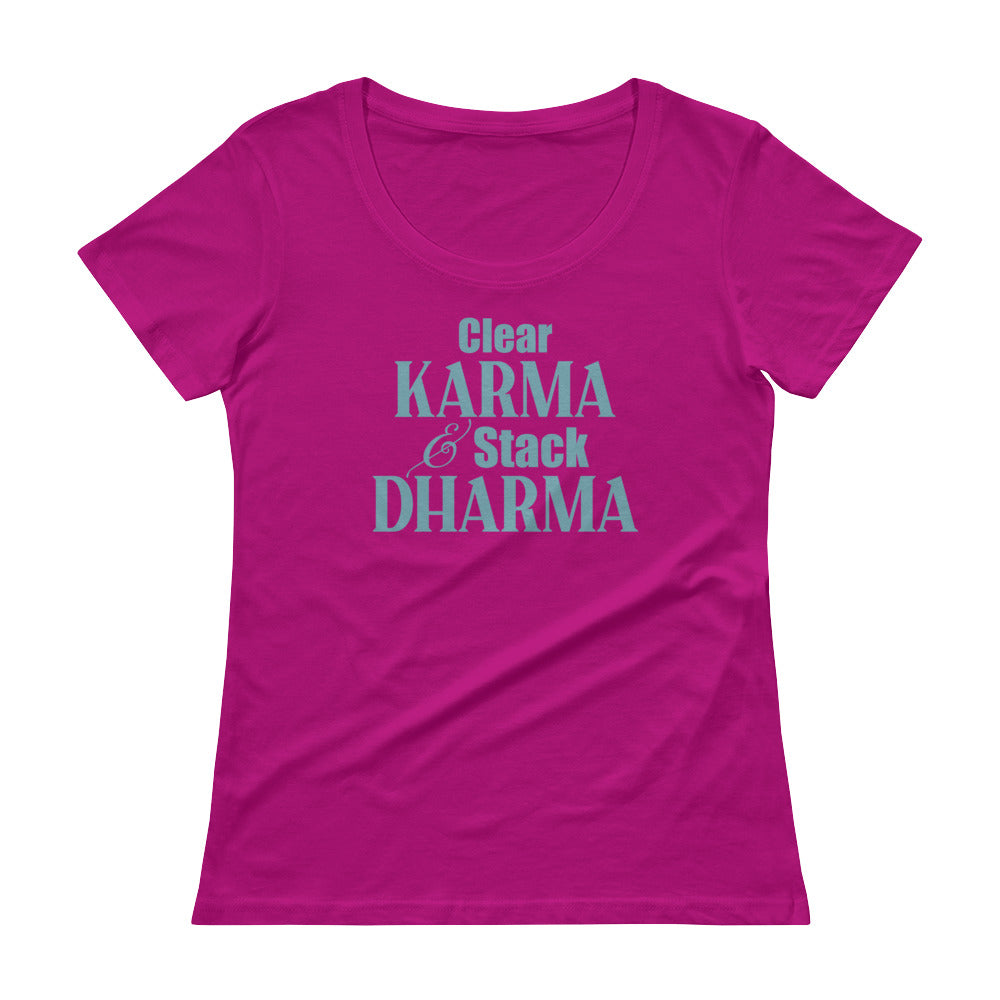 Clear Karma Stack Dharma - Women's Scoop Neck Tee - StarSeed Gear