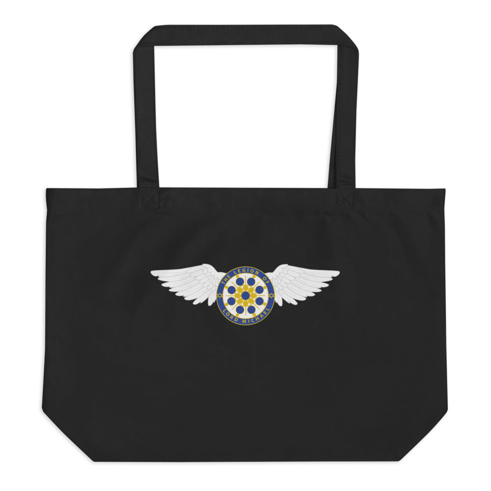 Archangel Michael Seal With Wings - Large Organic Twill Tote Bag - StarSeed Gear