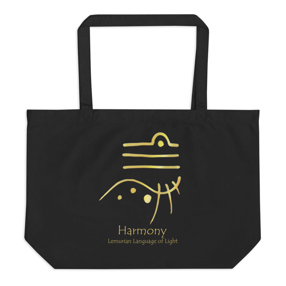 Lemurian Light Language Harmony - Large Organic Twill Tote Bag - StarSeed Gear