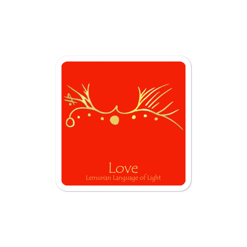 Lemurian Light Language Love Red - 3 X 3 inch Bubble-Free Sticker - StarSeed Gear