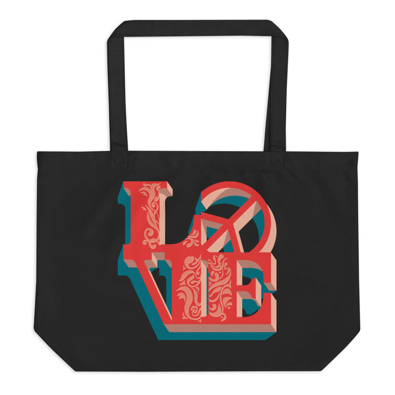 Love - Peace - Large Organic Twill Tote Bag - StarSeed Gear