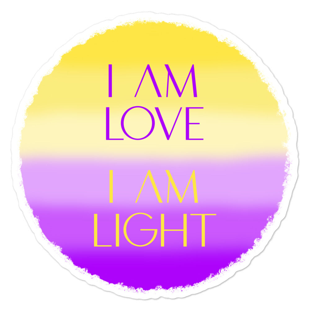 I Am Love I Am Light - 3x3 and 5.5x5.5inch Bubble-Free Sticker - StarSeed Gear
