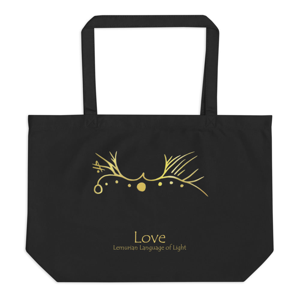 Lemurian Light Language Love - Large Organic Twill Tote Bag - StarSeed Gear