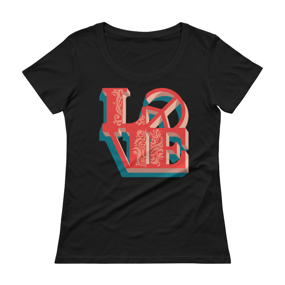 Love - Peace - Women's Scoop Neck Tee - StarSeed Gear