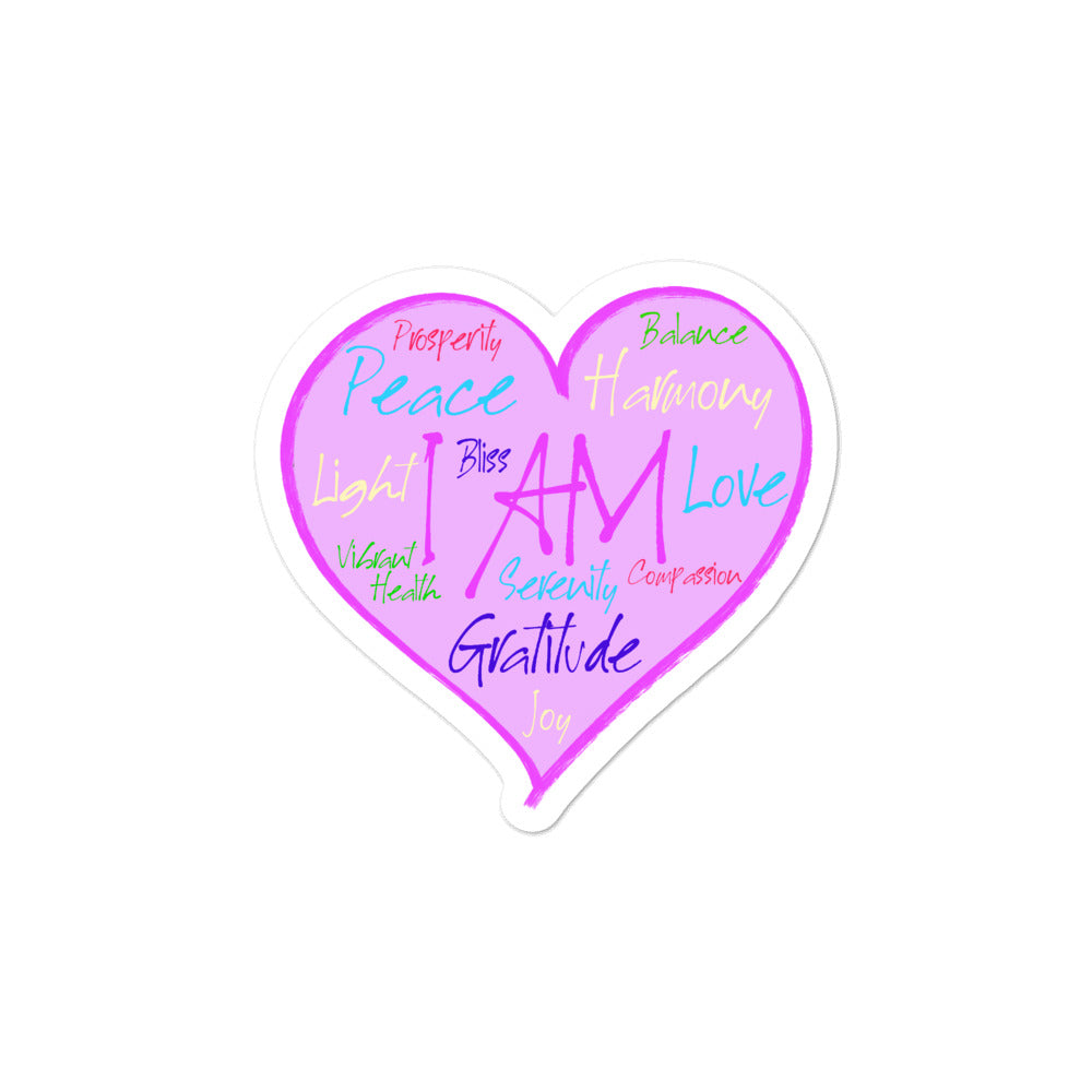 I AM Heart - 3x3 and 5.5x5.5inch Bubble-Free Sticker - StarSeed Gear