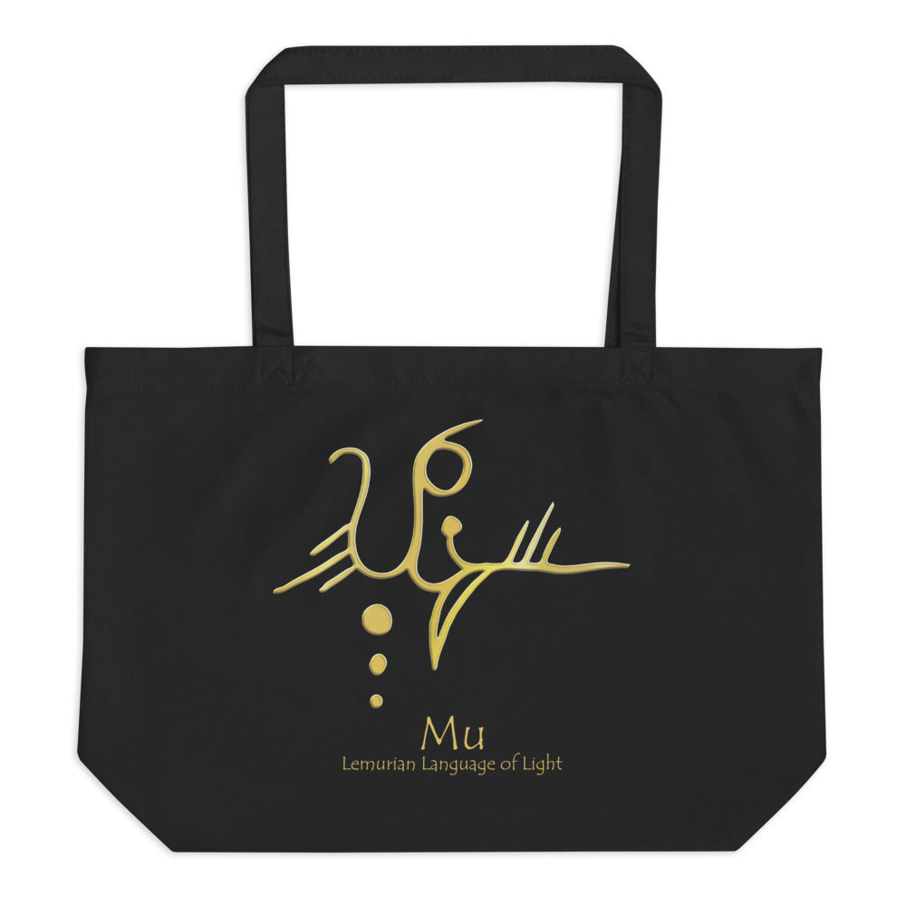 Lemurian Light Language Mu - Large Organic Twill Tote Bag - StarSeed Gear