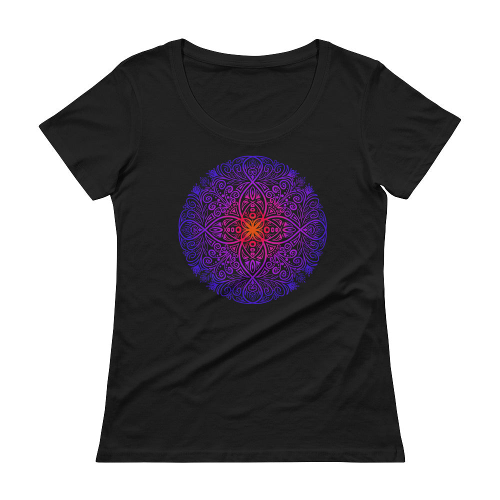Mandala Flow - Women's Scoop Neck Tee - StarSeed Gear