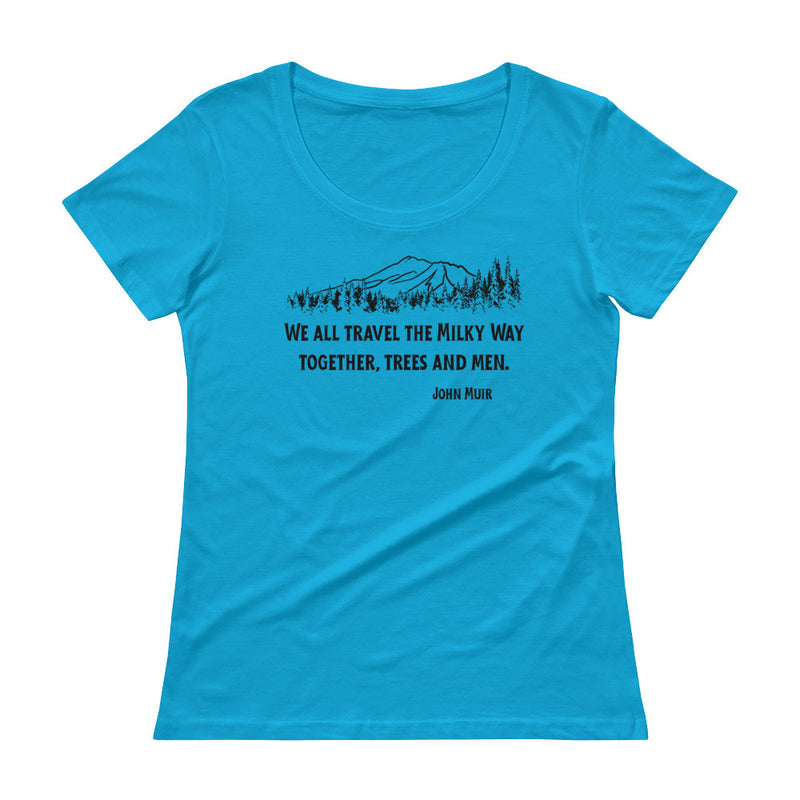 Traveling The Milky Way Together John Muir - Womens' Scoop Neck Tee - StarSeed Gear