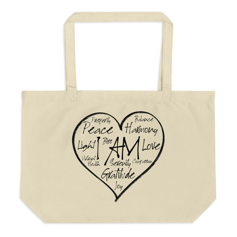 I AM Heart - Large Organic Twill Tote Bag - StarSeed Gear