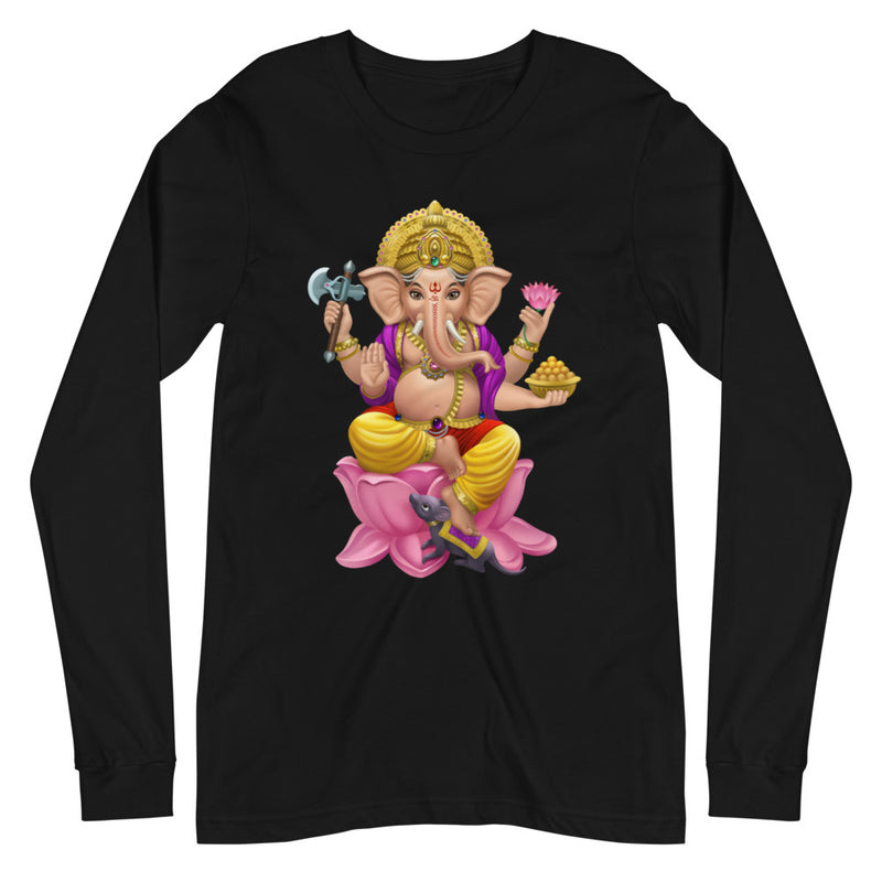 Ganesha On Pink Lotus - Women's Soft Long Sleeve Tee - StarSeed Gear