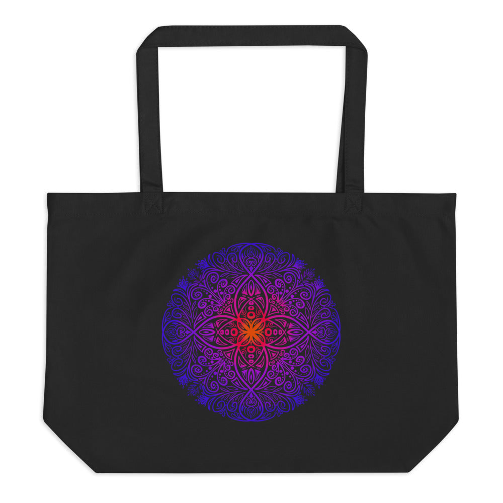Mandala Flow - Large Organic Twill Tote Bag - StarSeed Gear